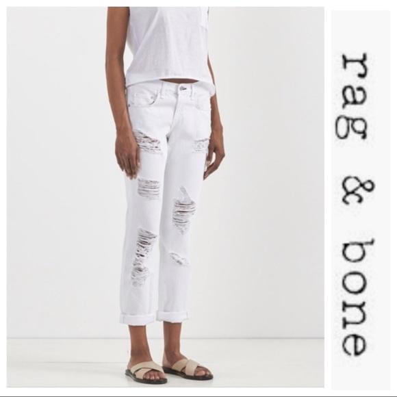 rag & bone Denim - rag & bone Distressed Boyfriend Jeans